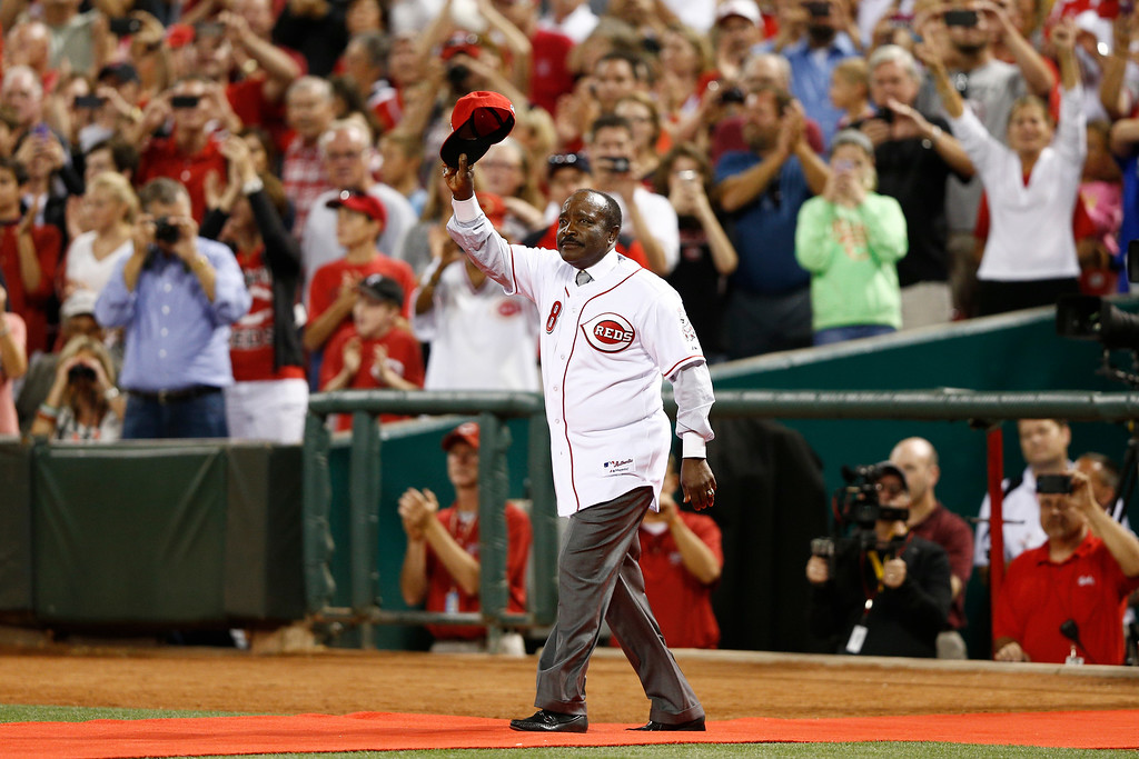 . CINCINNATI, OH - SEPTEMBER 6: Hall of fame second baseman Joe Morgan acknowledges the crowd in a ceremony following the game between the Cincinnati Reds and Los Angeles Dodgers at Great American Ball Park on September 6, 2013 in Cincinnati, Ohio. The Reds won 3-2. (Photo by Joe Robbins/Getty Images)