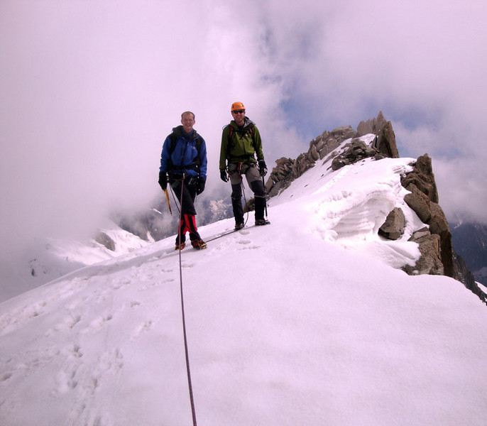 Andy (L) and Andrew (R) on the summit of Pt Lachenal. My climbing partner Andrew was also from England, so we named him 'Andy' to minimise confusion.