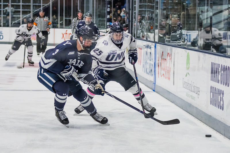 UNH's Chris Miller (25) and Yale's Charlie Curti (3) chase a loose puck during hockey action in Durham Saturday. [Scott Patterson/ Fosters.com]