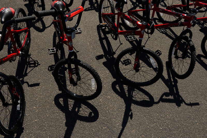 . Panera Bread and Wish for Wheels, a local non-profit, donated new bikes to benefit area kindergarteners at Sable Elementary in Aurora, May 14, 2013. (Photo By RJ Sangosti/The Denver Post)