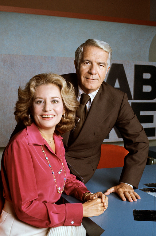 . ABC NEWS - 9/30/76 - Harry Reasoner and Barbara Walters anchor the ABC Evening News. (ABC PHOTO ARCHIVES.)