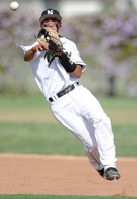 . Northview shortstop Michael Carlos throws out Baldwin Park\'s Dominic Hilo (not pictured) in the fourth inning of a prep baseball game at Northview High School on Tuesday, April 23, 2012 in Covina, Calif. Northview won 8-2.    (Keith Birmingham/Pasadena Star-News)
