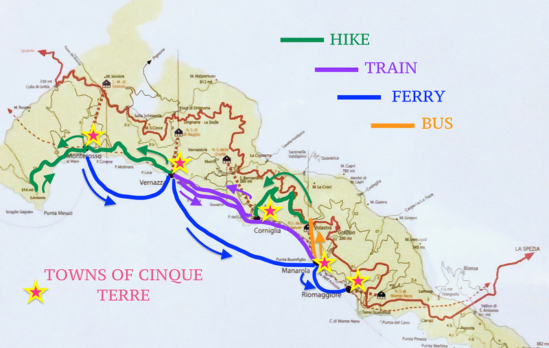 The map of what we did and how over the course of two days - Cinque Terre, Italy