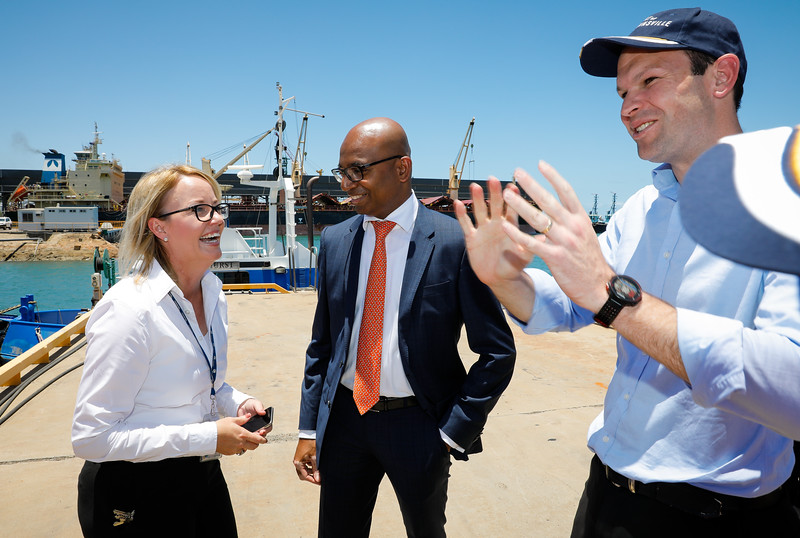 06 December 2016 - Townsville, Qld - Adani Carmichael coal mine announcement in Townsville.  Port of Townsville CEO Ranee Crosby, Adani Australia CEO Jeyakumar Janakaraj and Senator Matt Canavan - Photo: Cameron Laird (Ph: 0418 238811 - cameron@cameronlaird.com)