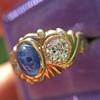 1.75ctw Cab Sapphire and Old European Cut Diamond 3-stone Ring 5