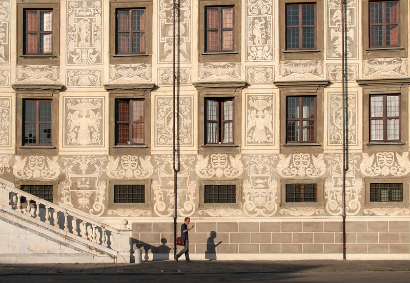 Sgraffiti Facade of Palazzo della Carovana (Palazzo dei Cavalieri), Palace housing Scuola Normale Superiore in Knights' Square, Pisa, Toscana (Tuscany), Italy