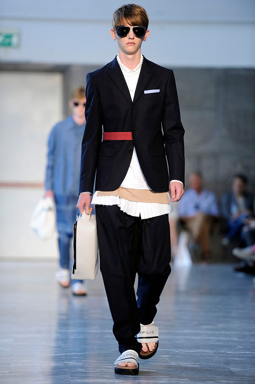 . A model wears a creation for Andrea Pompilio men\'s Spring-Summer 2015 collection, part of the Milan Fashion Week, unveiled in Milan, Italy, Saturday, June 21, 2014. (AP Photo/Giuseppe Aresu)