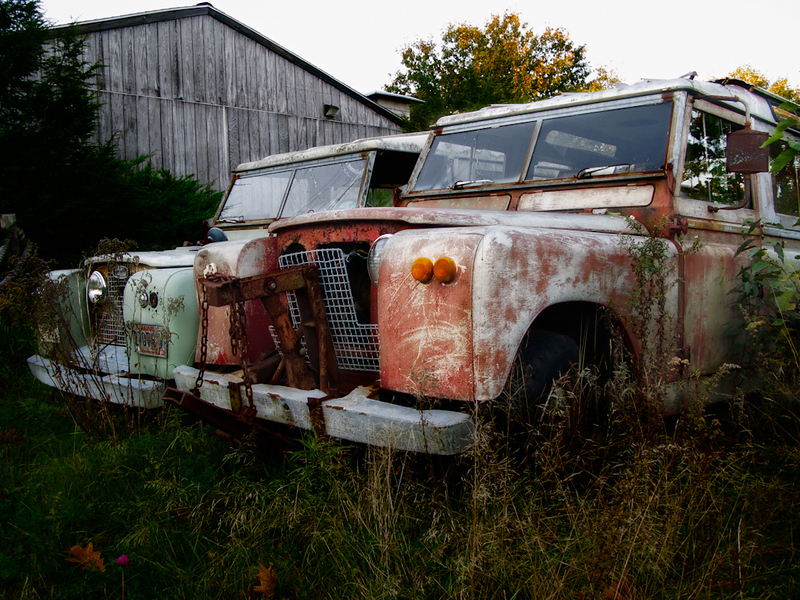 Go no more a'roving - Land Rover Defenders awaiting restoration at the East Coast Rovers storage site in Warren, Maine.