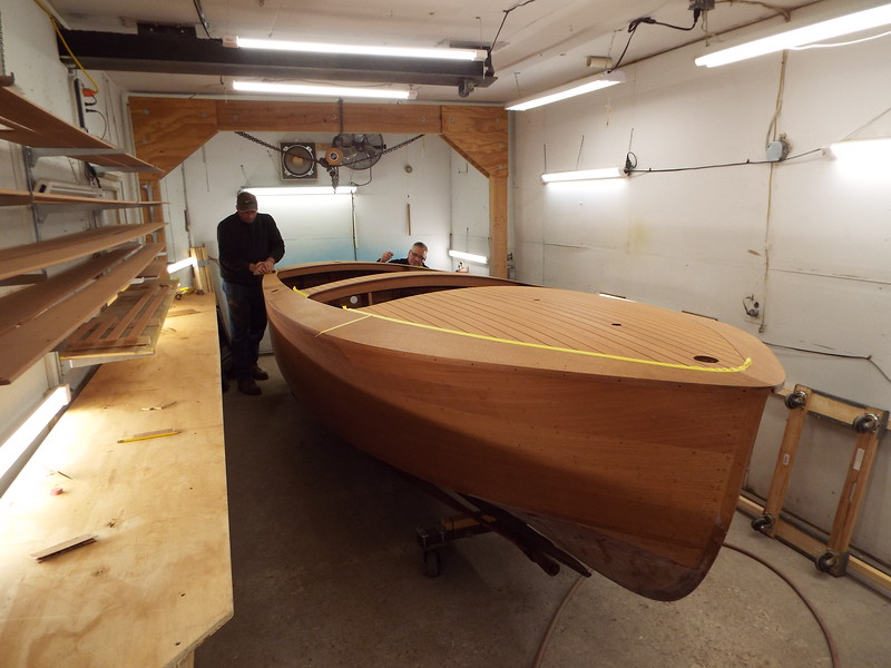 Final sanding on the hull. Next step is stain.