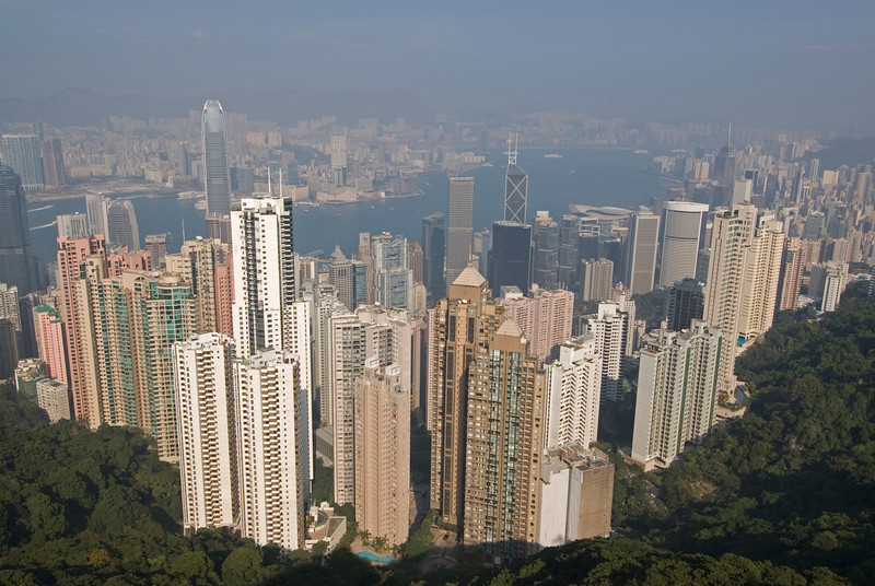 Overlooking view of the city skyline from Victoria Peak in Hong Kong