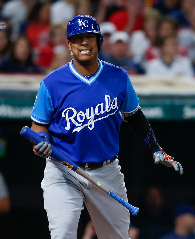 . Kansas City Royals\' Salvador Perez reacts after being struck out by Cleveland Indians starting pitcher Mike Clevinger during the sixth inning in a baseball game, Saturday, Aug. 26, 2017, in Cleveland. (AP Photo/Ron Schwane)
