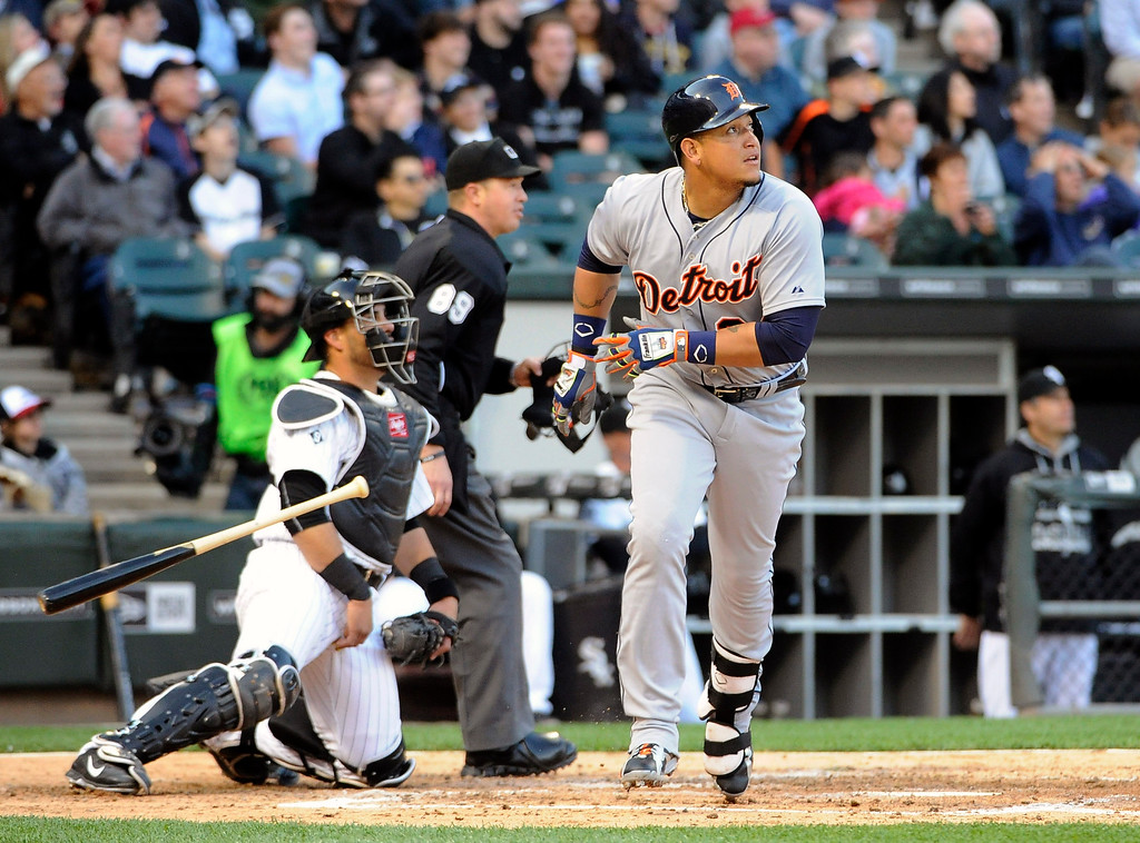. Detroit Tigers\' Miguel Cabrera (24) runs the bases after hitting a two-run homer against the Chicago White Sox during the fifth inning of a baseball game, Saturday, June 6, 2015 in Chicago.  (AP Photo/David Banks)