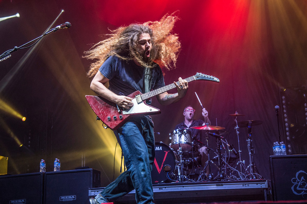 . Claudio Sanchez of Coheed and Cambria performs at Rock On The Range Music Festival on Saturday, May 20, 2017, in Columbus, Ohio. Coheed and Cambria performs July 29 at Jacobs Pavilion at Nautica. For more information, visit nauticaflats.com.   (Photo by Amy Harris/Invision/AP)