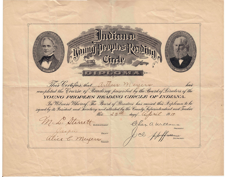 Arthur Meyers - Ind. Young Peoples Reading Circle Diploma - April 23, 1919.jpg