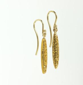 Engraved Gold Drop Earrings