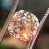4.03ct Light Fancy Brown Antique Cushion Cut Diamond Halo Ring GIA LFB, SI1 10