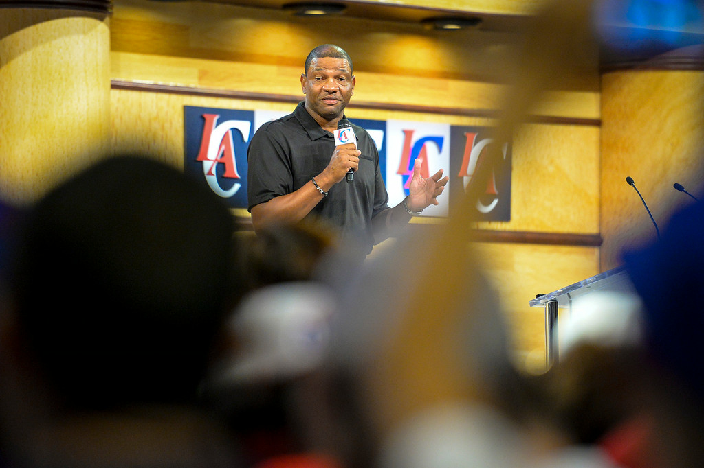 . New Clippers coach Doc Rivers addresses fans at Staples Center Monday August 18, 2014.  ( Photo by David Crane/Los Angeles Daily News )
