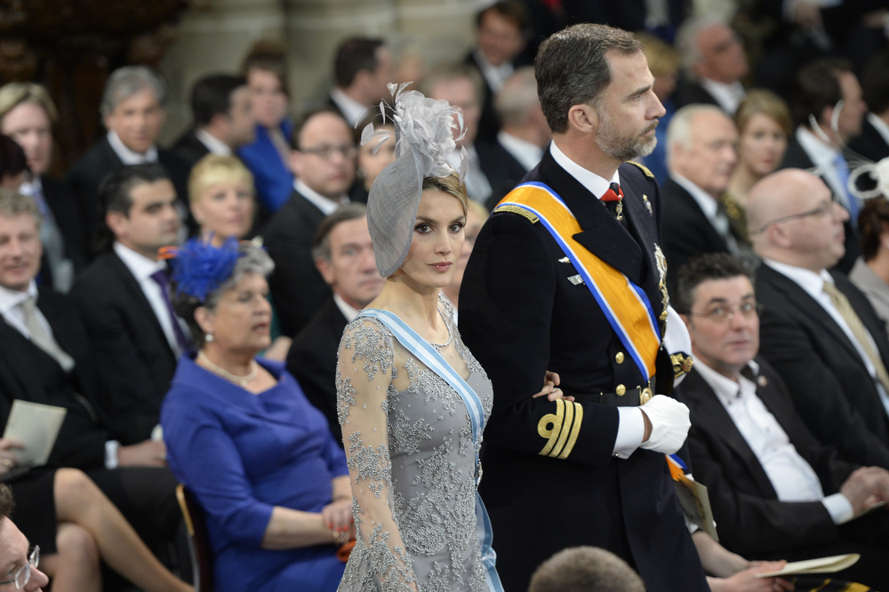 . Princess Letizia of Spain and Prince Felipe of Spain attend the inauguration ceremony of HM King Willem Alexander of the Netherlands and HM Queen Maxima of the Netherlands at New Church on April 30, 2013 in Amsterdam, Netherlands.  (Photo by Robin Utrecht - Pool/Getty Images)