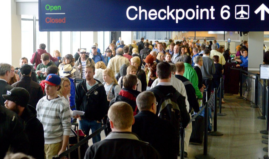 """. <p><b> Twin Cities airport officials caused some heartache last week when they recommended that domestic passengers show up � </b> <p> A. 2½ hours early <p> B. 2½ minutes early <p> C. 2½ days early <p><b><a href=\'http://www.twincities.com/travel/ci_25418489/msp-airport-officials-urge-passengers-arrive-earlier-flights\' target=\""""_blank\"""">HUH?</a></b> <p>    (Pioneer Press: John Autey)"""