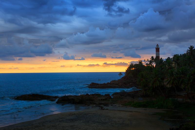 Kovalam (Vizhinjam) lighthouse on sunset. Kerala, India