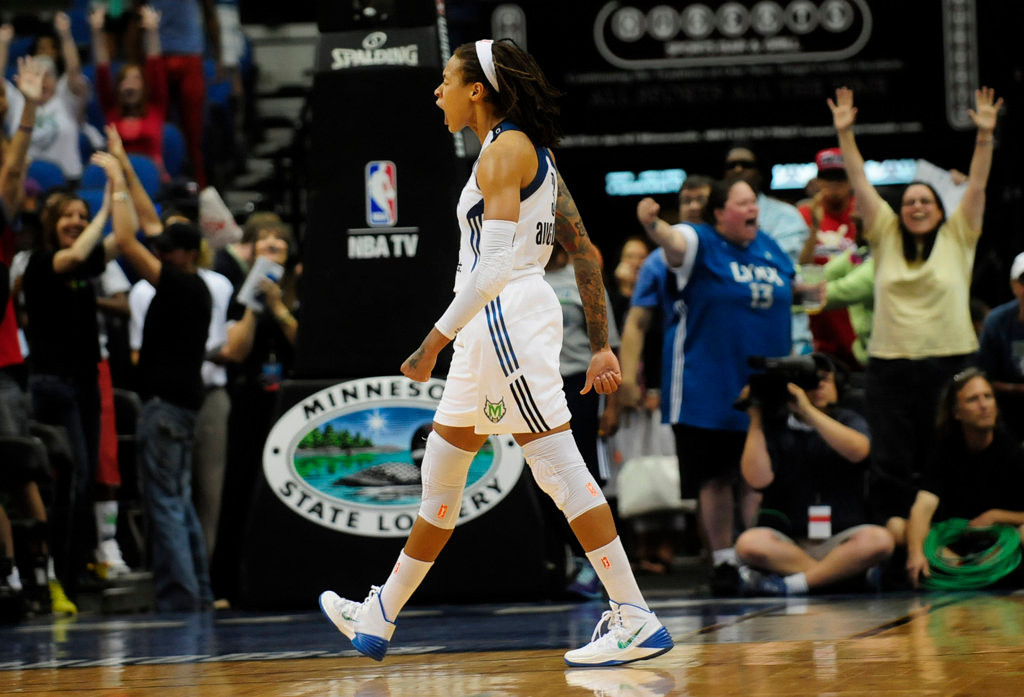 . Minnesota\'s Seimone Augustus lets out a yell after scoring a two-pointer with 36 seconds left in the second half, tying the game at 75-75, but the Lynx\'s 10-game win streak came to an end, as the Washington Mystics won 79-75 at Target Center on Aug. 8, 2013. (Pioneer Press: Scott Takushi)
