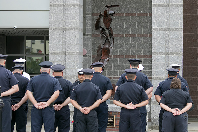 The Fitchburg Fire Department on North Street has a 911 memorial in front of the station that has a beam from the North Tower of the world Trade Center. It was dedicated on September 11, 2018. They held a ceremony in honor of those that lost their lives on that day in 2001 today. Fitchburg Firefighter stand a parade rest during the ceremony. SENTINEL & ENTERPRISE/JOHN LOVE