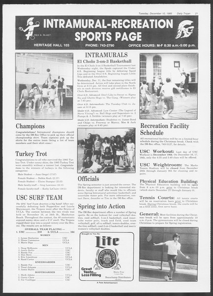Daily Trojan, Vol. 100, No. 64, December 10, 1985