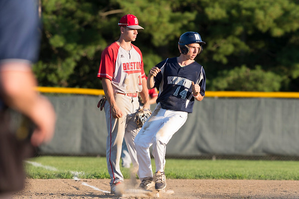 07/08/19 Wesley Bunnell | Staff Newington baseball defeated Bristol in an American Legion game in Newington on Monday July 8, 2019. Bristol third baseman Mac Goulet (10) and Domenick Bukowski (14).