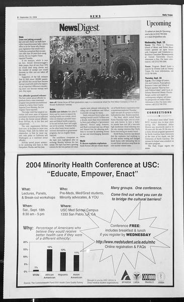 Daily Trojan, Vol. 153, No. 16, September 15, 2004