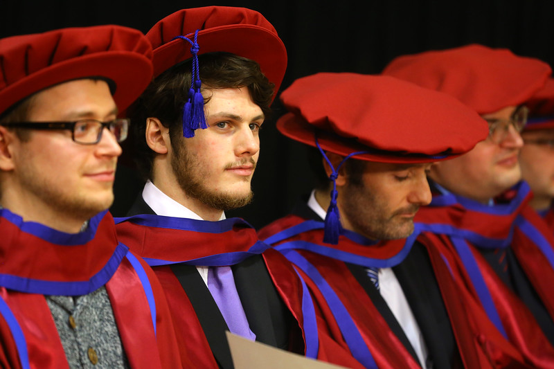 Waterford Institute Of Technology Conferring. Pictured at WIT Waterford Institute Of Technology Conferring are Stepan Ivanov, Russia, Julien Mineraud, France, Frank Walsh, Waterford, Ronan O'Byrne who were conferred a Doctor of Philosophy. Picture: Patrick Browne
