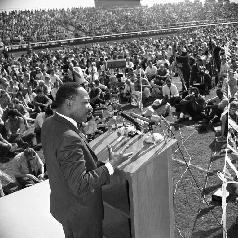 . Civil rights leader Martin Luther King addresses students at Sacramento State College on Oct. 16, 1967. King told the students that the Vietnam War was unjust because it works against the drive for African American equality. He maintained that fighting a war thousands of miles away takes money from the domestic war on poverty. (AP Photo/Walter Zeboski)