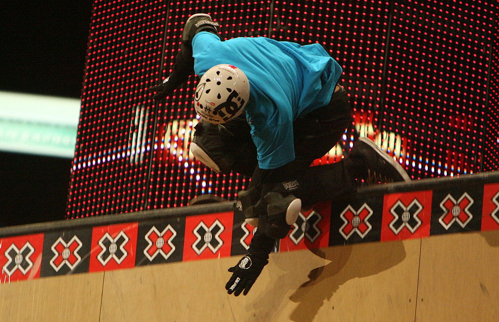 . Danny Way hits the railing and falls during the Skateboard Big Air Finals during the Fourteenth X-Games on Thursday July 31, 2008, in Los Angeles. (SGVN/Staff Photo by Keith Birmingham/SPORTS)