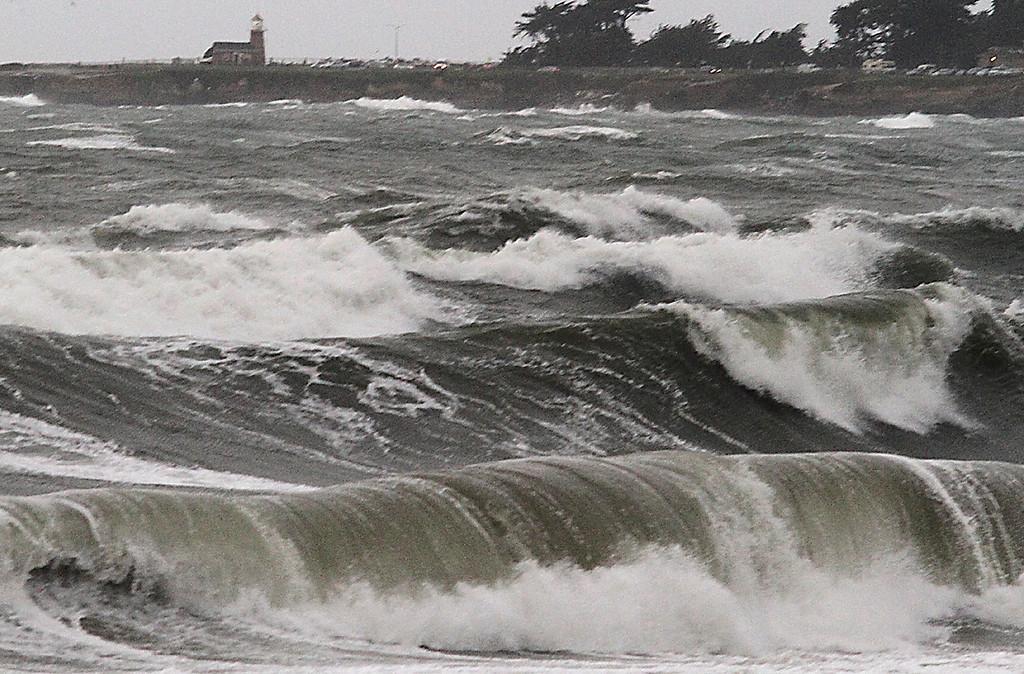 . Storm-fueled waves pour into Twin Lakes State beach in Santa Cruz, Calif., on Thursday morning, Dec. 11, 2014. (Shmuel Thaler -- Santa Cruz Sentinel)