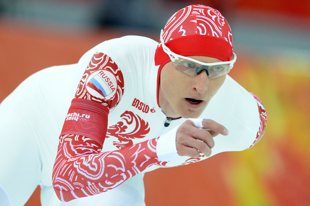 . Russia\'s Ivan Skobrev competes in the Men\'s Speed Skating 5000m at the Adler Arena during the 2014 Sochi Winter Olympics on February 8, 2014.  (ANDREJ ISAKOVIC/AFP/Getty Images)