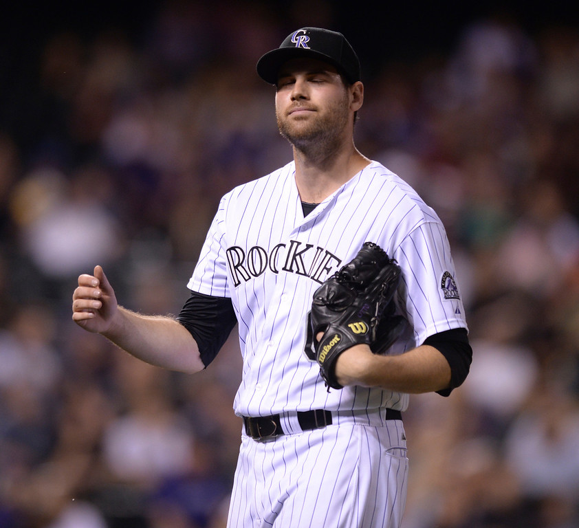 . DENVER, CO - JUNE 20: Rockies reliever Adam Ottavino gave up an extra run in the ninth inning. The Milwaukee Brewers defeated the Colorado Rockies 13-10 at Coors Field Friday night, June 20, 2014. Photo by Karl Gehring/The Denver Post
