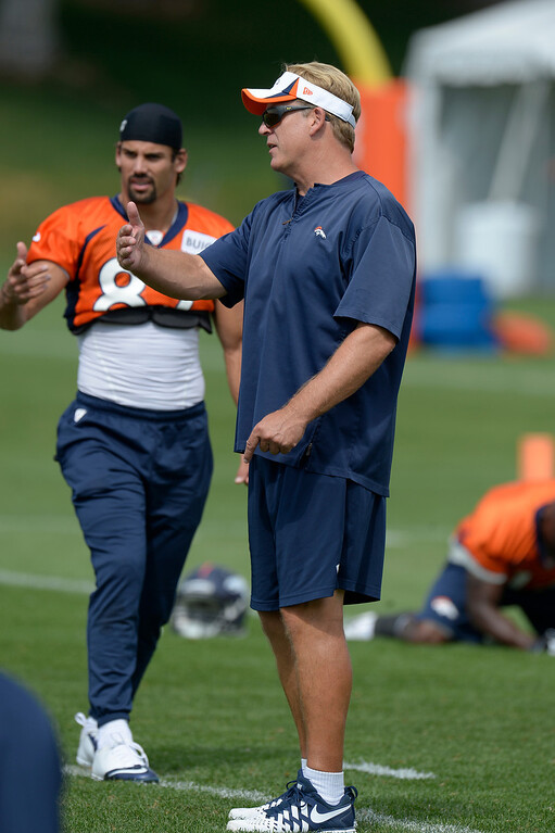 . Denver Broncos wide receiver Eric Decker (87) chats with defensive coordinator Jack Del Rio during practice August 23, 2013 at Dove Valley (Photo by John Leyba/The Denver Post)