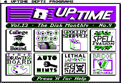 Here's the UpTime menu shell.....my game's icon wasn't too bad.