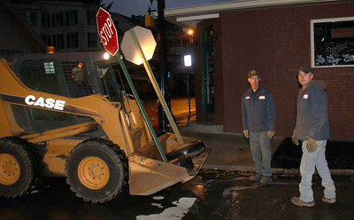 Borough Workers Removing Temporary Stop Signs, Tamaqua (10-31-2012)