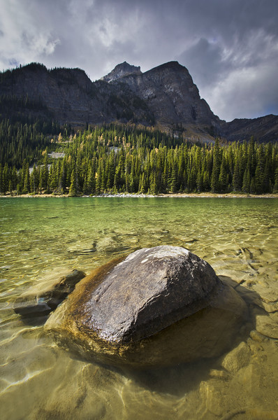 """Boulders in the Shallows"", Lower Twin Lake, Banff National Park, Alberta, Canada."
