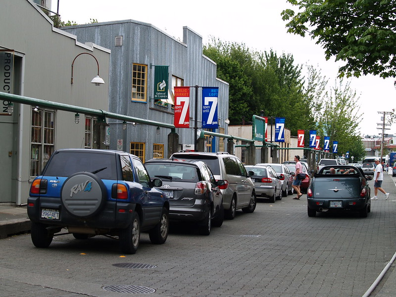 Granville Island, a successful urban renewal project in Vancouver, is filled with small businesses, artist shops, marine services and restaurants. The focal point is the Granville Island Public Market. It is THE place to shop (2005).
