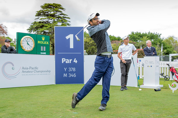 Yashas Chandra from India hitting off the 1st tee on Day 1 of competition in the Asia-Pacific Amateur Championship tournament 2017 held at Royal Wellington Golf Club, in Heretaunga, Upper Hutt, New Zealand from 26 - 29 October 2017. Copyright John Mathews 2017.   www.megasportmedia.co.nz