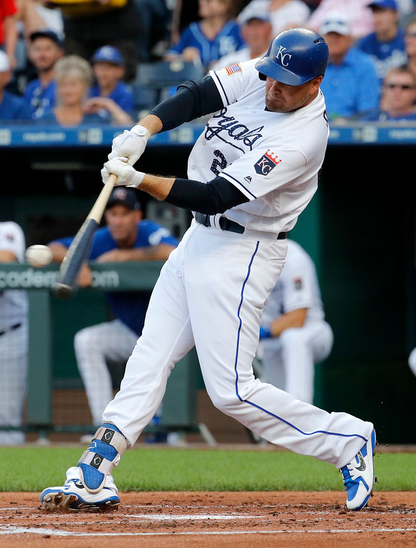. Kansas City Royals\' Lucas Duda hits a two-run home run during the first inning of the team\'s baseball game against the Cleveland Indians on Tuesday, July 3, 2018, in Kansas City, Mo. (AP Photo/Charlie Riedel)