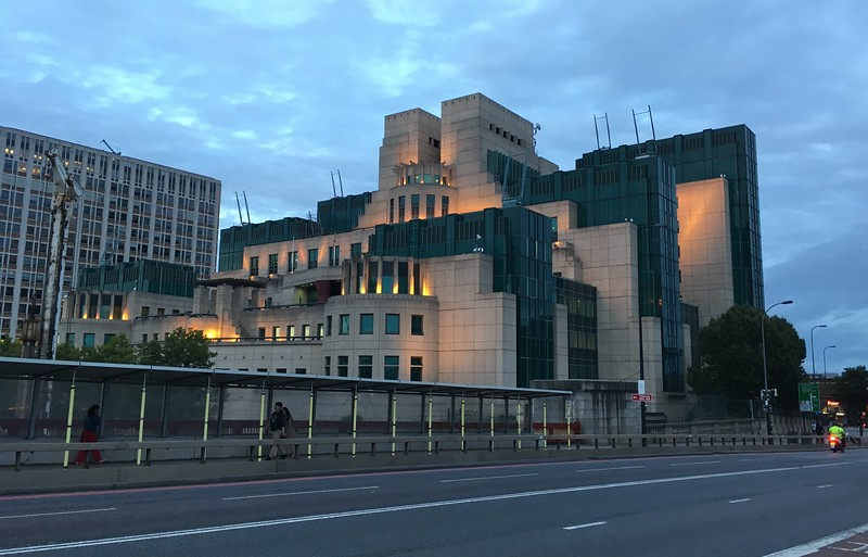 MI6 looks pretty evil in the evening light