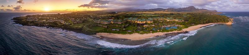 A hawaiian resort during sunset