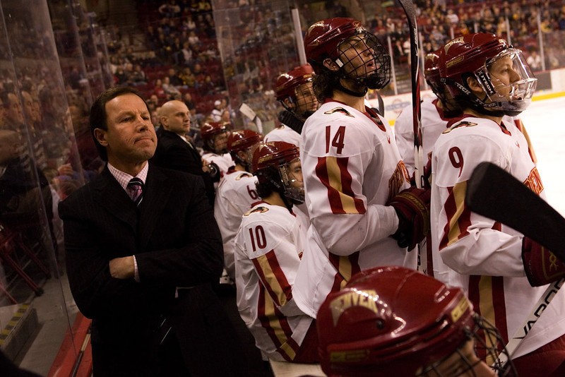. University of Denver coach George Gwozdecky leads the Pioneers to 4-1 victory over the number 5 Minnesota Golden Gophers Sat., Feb. 9 at home.  The Pioneers recently lost their lead scorer, Brock Trotter, to the pros.  Trotter signed with the Montreal Canadiens on Thursday, Feb. 7, 2008. (Nathan W. Armes/Special to The Denver Post)