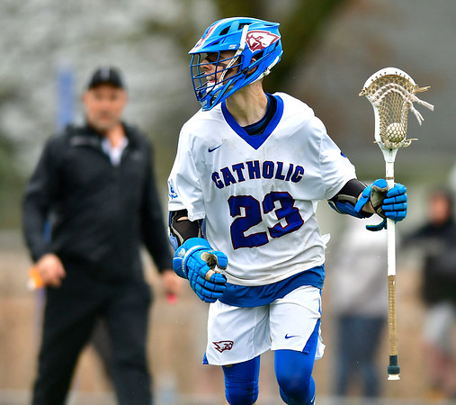 4/20/2019 Mike Orazzi | Staff St. Paul's Kevin Ashworth (23) during Saturday's boys lacrosse with Bacon Academy at Bristol Central iHigh School n Bristol