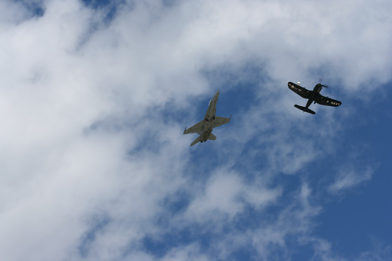 F/A-18 Hornet and F4U Corsair breaking out of formation.