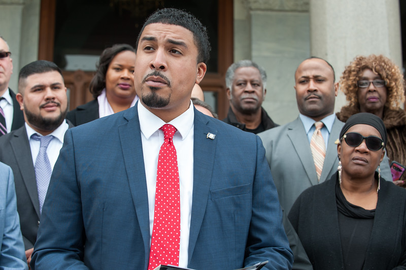 04/30/18  Wesley Bunnell | Staff  New Britain Alderman Emmanuel Sanchez announced Monday afternoon on the steps of the State Capitol Building his entry into the race for the Connecticut's 5th Congressional House seat which currently is held by Democrat Elizabeth Esty.
