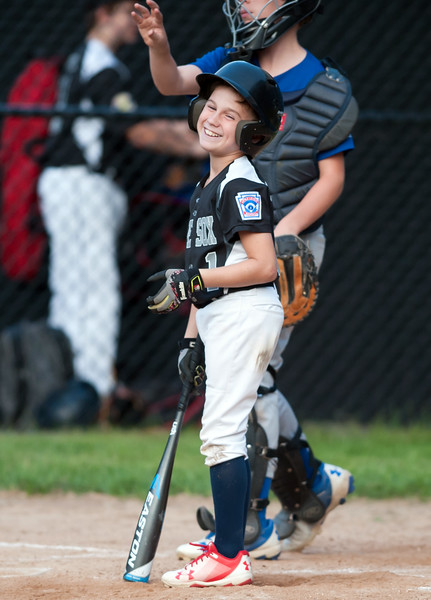 08/20/18  Wesley Bunnell | Staff  The Bristol Little League City Series on Monday night featuring the Cub defeating the White Sox at Frazier Field. Kaden Dragon (1) smiles while getting the signs from the third base coach.