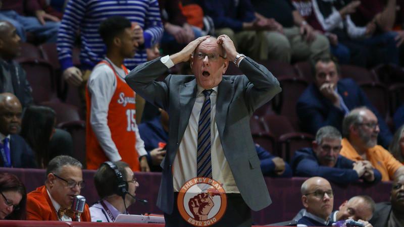 Syracuse head coach Jim Boeheim reacts to a foul call against his team in the second half. (Mark Umansky/TheKeyPlay.com)